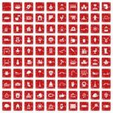 röd fastställd grunge för 100 dagissymboler Arkivbild