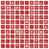röd fastställd grunge för 100 förtrycksymboler Arkivbilder