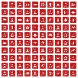 röd fastställd grunge för 100 folk symboler Royaltyfri Fotografi