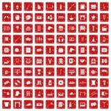 röd fastställd grunge för 100 fritidsymboler Arkivfoton