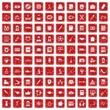 röd fastställd grunge för 100 hög-skola symboler Arkivfoton