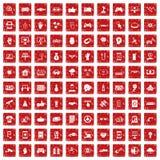 röd fastställd grunge för 100 högteknologiska symboler Fotografering för Bildbyråer