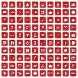 röd fastställd grunge för 100 höstferiesymboler Arkivfoton