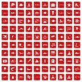 röd fastställd grunge för 100 havsymboler Royaltyfria Foton