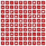 röd fastställd grunge för 100 hem- symboler Royaltyfri Fotografi