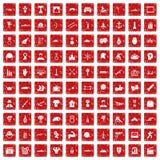 röd fastställd grunge för 100 hjältesymboler Arkivfoto