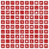 röd fastställd grunge för 100 hockeysymboler Royaltyfri Bild