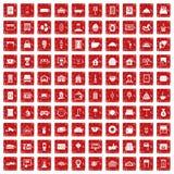 röd fastställd grunge för 100 hotellsymboler Fotografering för Bildbyråer