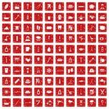 röd fastställd grunge för 100 hygiensymboler Royaltyfria Foton