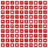 röd fastställd grunge för 100 inre symboler Arkivbild