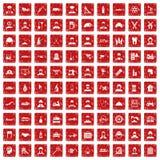 röd fastställd grunge för 100 jobbsymboler Royaltyfri Bild