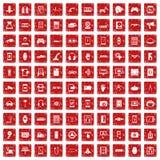 röd fastställd grunge för 100 justeringssymboler Royaltyfri Fotografi