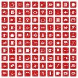röd fastställd grunge för 100 köksgerådsymboler Royaltyfri Foto