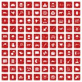röd fastställd grunge för 100 kosymboler Royaltyfri Foto