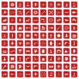 röd fastställd grunge för 100 kugghjulsymboler Fotografering för Bildbyråer