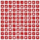 röd fastställd grunge för 100 levande natursymboler Arkivfoton