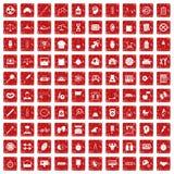 röd fastställd grunge för 100 librasymboler Royaltyfria Bilder