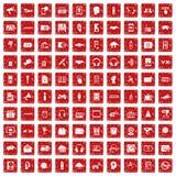 röd fastställd grunge för 100 ljudsignal symboler Royaltyfri Fotografi