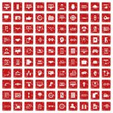 röd fastställd grunge för 100 manöverenhetssymboler Royaltyfria Foton