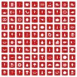 röd fastställd grunge för 100 matsymboler Royaltyfri Bild