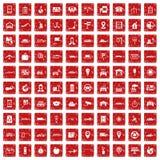 röd fastställd grunge för 100 navigeringsymboler Royaltyfria Foton