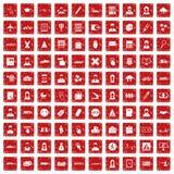 röd fastställd grunge för 100 påbörjandesymboler Royaltyfria Bilder