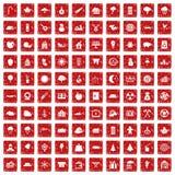 röd fastställd grunge för 100 skogsarbetaresymboler Royaltyfri Fotografi