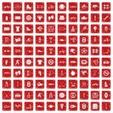 röd fastställd grunge för 100 sportsymboler Royaltyfria Foton