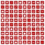 röd fastställd grunge för 100 statistikdatasymboler Arkivfoton