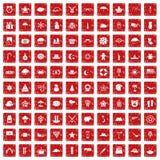 röd fastställd grunge för 100 stjärnasymboler Royaltyfri Bild