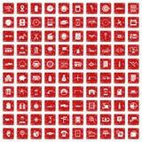 röd fastställd grunge för 100 symboler för auto reparation Royaltyfria Foton