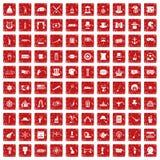 röd fastställd grunge för 100 symboler för bästa hatt Fotografering för Bildbyråer