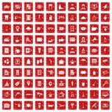 röd fastställd grunge för 100 symboler för hotellservice Royaltyfri Foto
