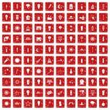 röd fastställd grunge för 100 symboler för ljus källa Royaltyfri Bild