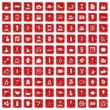 röd fastställd grunge för 100 symboler för skönhetsalong Arkivfoton