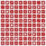 röd fastställd grunge för 100 symboler för sportutrustning Royaltyfri Foto
