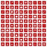 röd fastställd grunge för 100 symboler för utrymmeteknologi Royaltyfri Fotografi