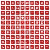 röd fastställd grunge för 100 tidsymboler Arkivfoton