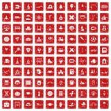 röd fastställd grunge för 100 ungesymboler Fotografering för Bildbyråer