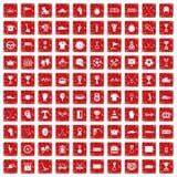 röd fastställd grunge för 100 utmärkelsesymboler Royaltyfri Bild