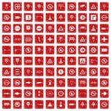 röd fastställd grunge för 100 vägmärkesymboler Fotografering för Bildbyråer