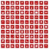 röd fastställd grunge för 100 vårsymboler Arkivfoto
