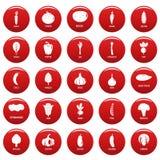 Röd fastställd vetor för grönsaksymboler stock illustrationer