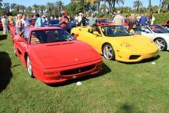 Röd Ferrari 512tr & ferrari F360 spindel Royaltyfri Fotografi