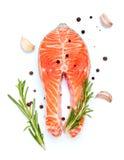 Röd fiskbiff för ny rå lax royaltyfri fotografi