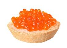 Röd fiskglidbana för kaviar på ett stycke av vitt bröd som isoleras på whit royaltyfri bild