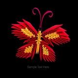 Röd fjäril för origami Arkivbild