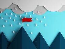 Röd flagga på berget och molnen med regn Arkivfoto