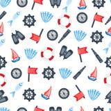 Röd flagga, styrninghjul, kompass, skepp, snäckskal, fisk, kikare, kikare som isoleras på vit bakgrund, flotta vektor illustrationer