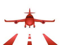 Röd flygplanlandning Arkivbilder